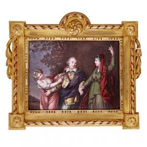 Antique Limoges enamel plaque in giltwood frame