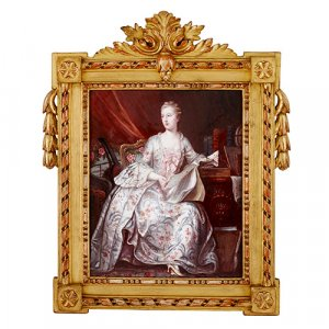 Antique Limoges enamel portrait plaque in giltwood frame