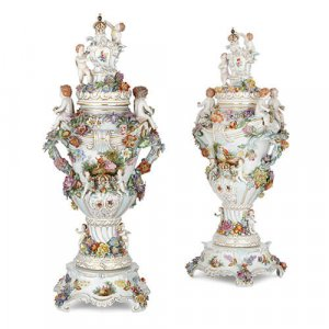 Pair of large antique German Dresden porcelain vases
