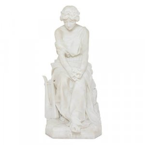 Italian 19th Century seated marble figure of Sappho