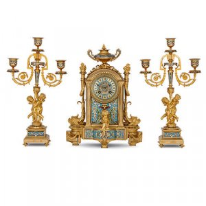 French three piece ormolu and cloisonne enamel clock set