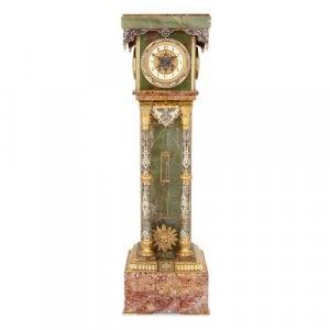 Ormolu mounted champlevé enamel, onyx and marble pedestal clock