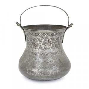 Very large Persian damascened copper and tin bucket