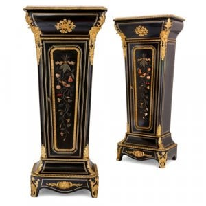 Pair of ebonised wood, hardstone and ormolu pedestal cabinets