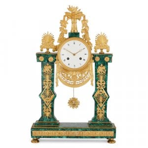 French Empire period ormolu and malachite mantel clock