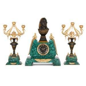 Malachite, marble, gilt and patinated bronze clock set by Le Roy