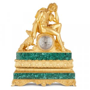 Antique ormolu and malachite mantel clock by Honoré Pons