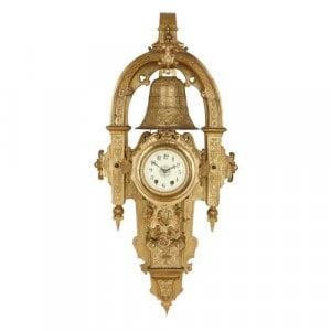 Large antique Mannerist style ormolu cartel clock with bell