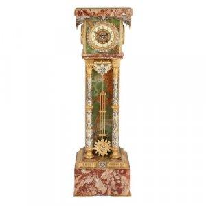 Ormolu, champlevé enamel, onyx and marble longcase clock