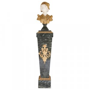 Ormolu and marble bust on pedestal by Gory