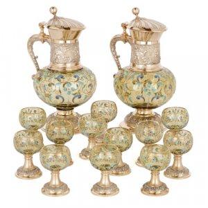 Antique silver mounted enamelled glass vodka drinking set