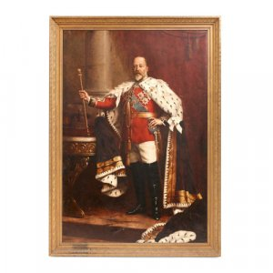 Large oil painting of King Edward VII, attributed to Willis