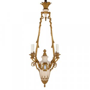 Antique marble, ormolu and jasperware four-light chandelier