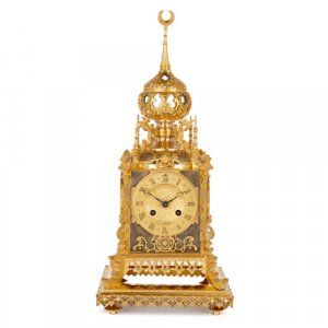 Ottoman style silvered and gilt bronze mantel clock by Oudin