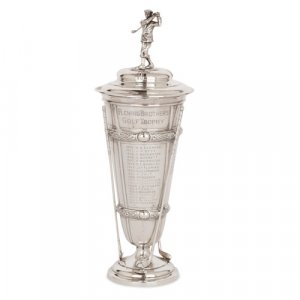 English silver golf trophy by Harrison Brothers & Howson