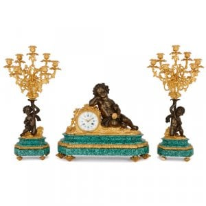 Louis XVI style gilt and patinated bronze malachite clock set