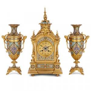 Renaissance Revival style ormolu and champlevé enamel clock set