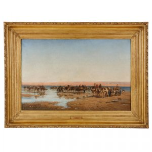 'Crossing the Desert', large Orientalist painting by Berchère