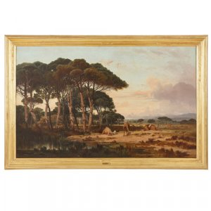 'Camels Grazing', Orientalist oil painting by Lefebvre