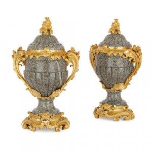 Pair of Louis XV style ormolu mounted marble vases