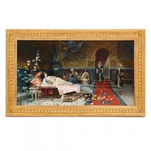 'In the Harem', Orientalist oil painting by Giménez-Martín