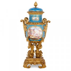 Sèvres style porcelain and ormolu vase with marine theme