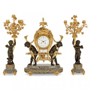 Large marble, gilt and patinated bronze clock set by Gervais