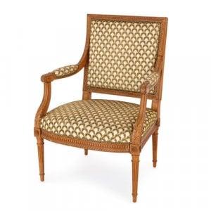 Antique Louis XVI style beechwood armchair by Linke