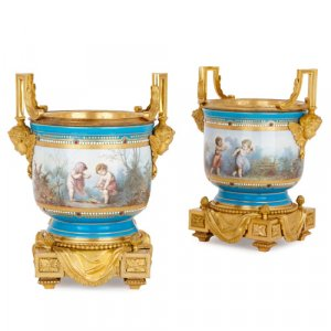 Two Sèvres porcelain jardinières with ormolu mounts by Picard