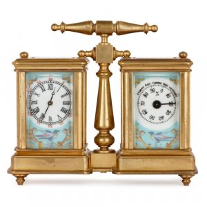 French gilt brass and porcelain carriage clock and barometer