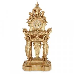 Large French Napoleon III period ormolu mantel clock