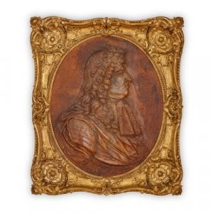 French leather relief portrait of Louis XIV after Girardon