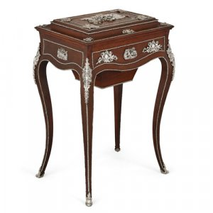 Silvered bronze mounted oak dressing table attributed to Diehl