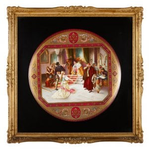 Large Royal Vienna porcelain charger with Shakespearean scene