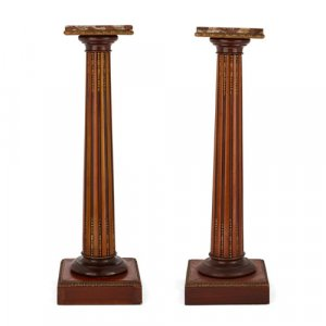 Two satinwood, marble, and ormolu pedestals