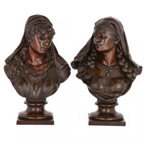 Pair of Orientalist spelter bust sculptures
