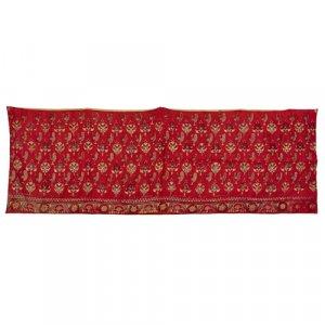 Indian silk embroidered crimson satin skirt band