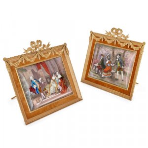 Pair of Limoges enamel plaques in gilt metal easel frames