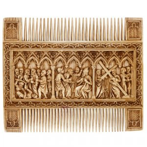 Antique Gothic Revival style ivory double comb
