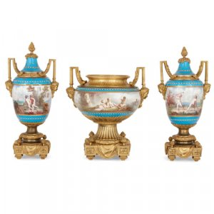 Ormolu mounted porcelain vase garniture by Sèvres and Picard