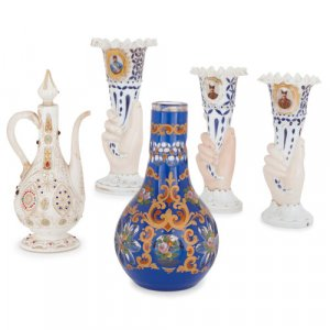 Collection of Bohemian Persian style glass objects