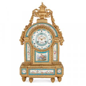 Antique ormolu and Sèvres style porcelain mantel clock