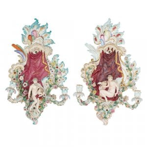 Pair of Meissen porcelain two-branch wall lights