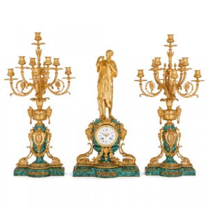 Ormolu and malachite clock set by Victor Paillard & Romain