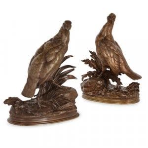 Pair of patinated bronze partridges by Moigniez