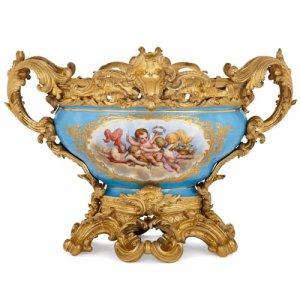 Antique Sèvres style porcelain and ormolu jardinière