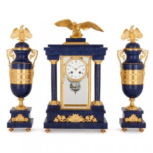 Neoclassical style ormolu mounted lapis lazuli clock set