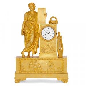 French Restauration period gilt bronze mantel clock