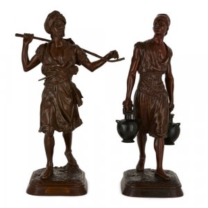 Pair of large Orientalist patinated bronze figures by Debut