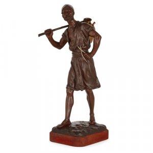 'The Water Carrier', Orientalist bronze sculpture by Debut